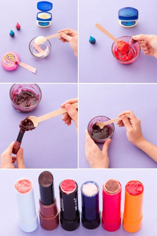 Diy Your Own Lipstick Using Vaseline Bubblegum As A Base Then Create Custom