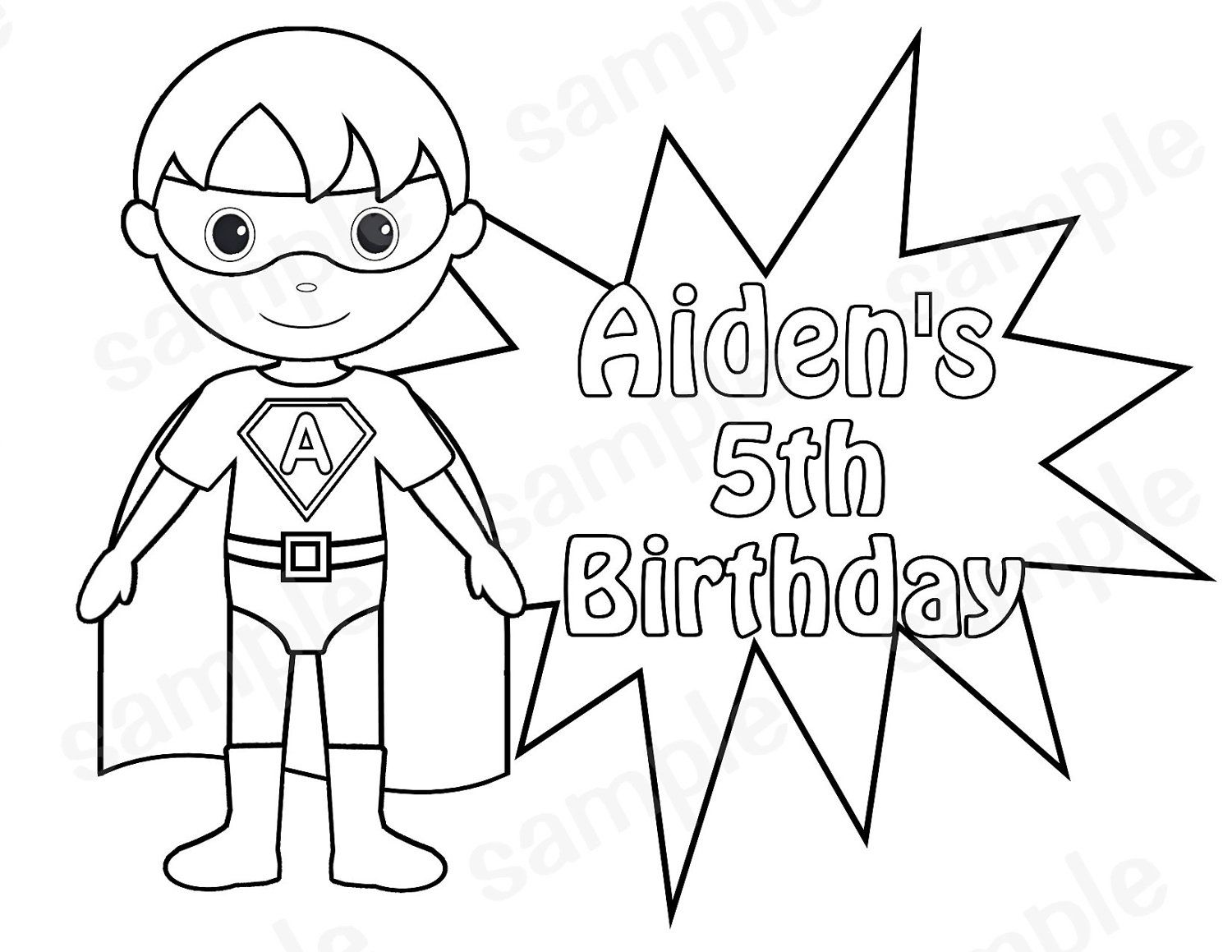 Personalized Printable SuperHero boy Birthday Party Favor