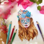 sugar skull drawing day