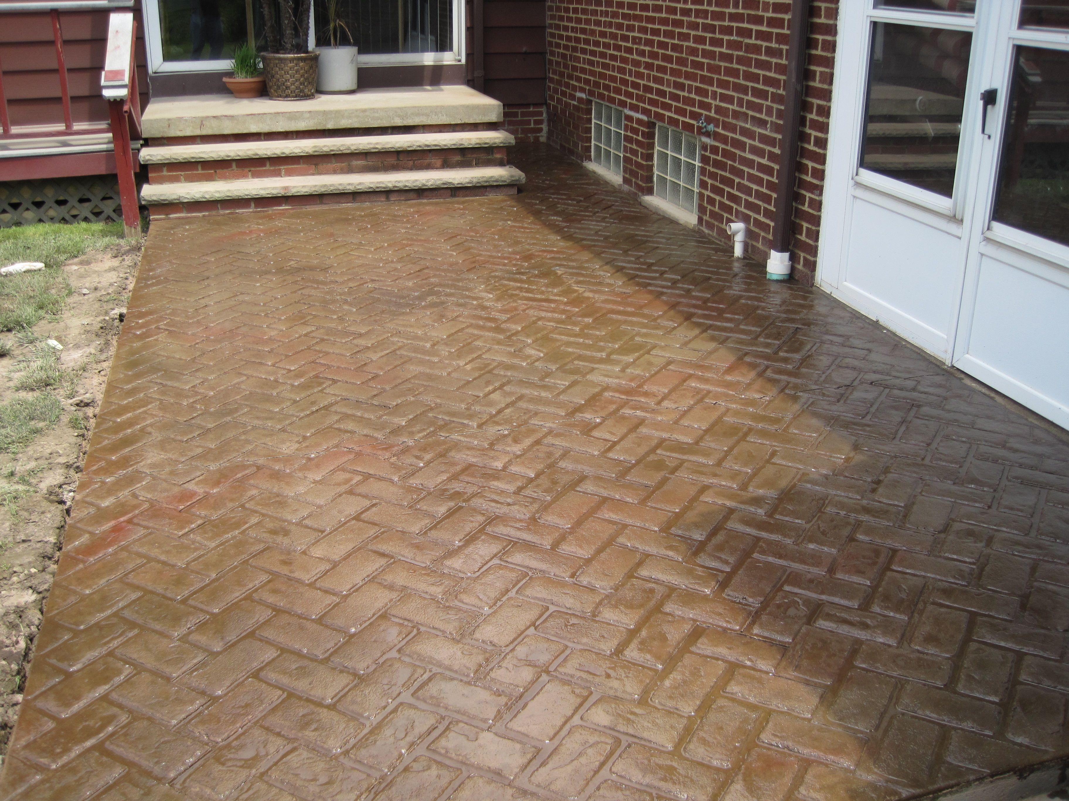 Patio in New Brick Herringbone pattern  Stamped Concrete