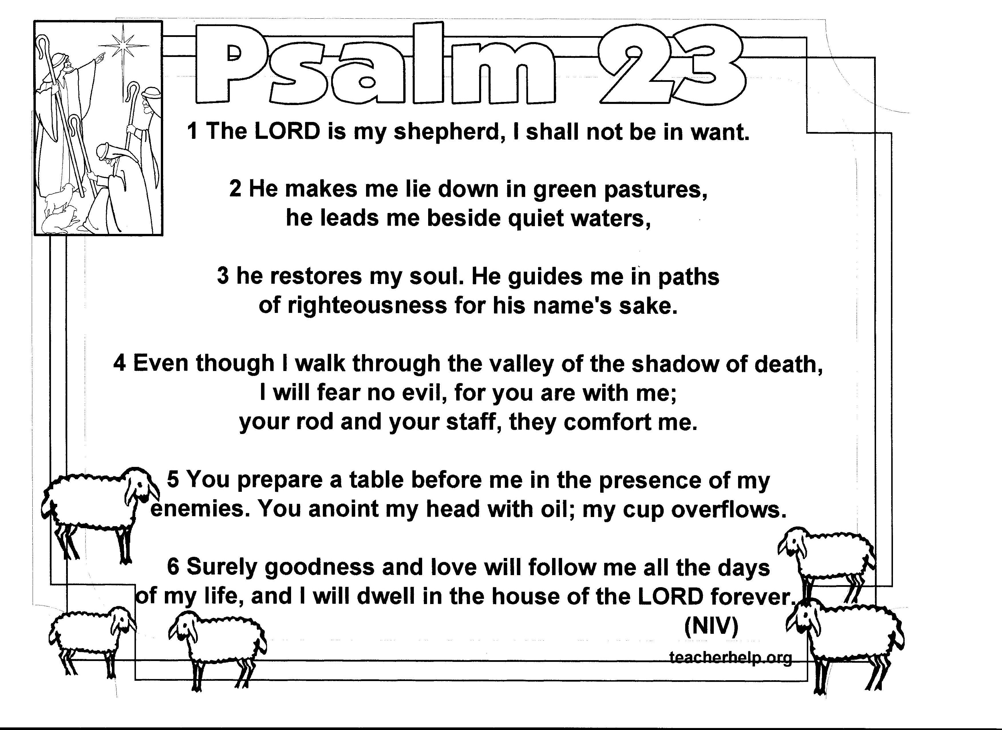 Psalm 23 Coloring Sheet Is Available In Niv Kjv And Nvi