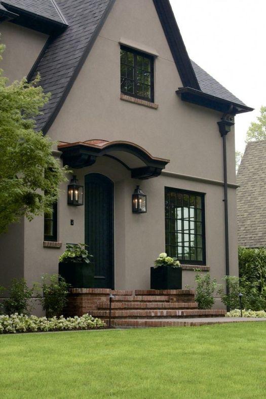 Laurelhurst House Front Door The Body Is Color Benjamin Moore Ac 36 Shenandoah Taupe Black Trim Exterior Househouse Paint