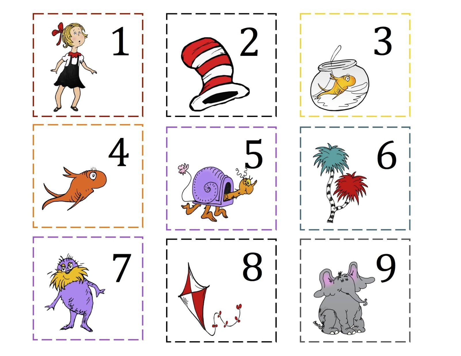 Dr Seuss Number Cards