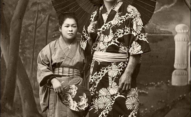 An Unlikely Couple Kimonos And Woman