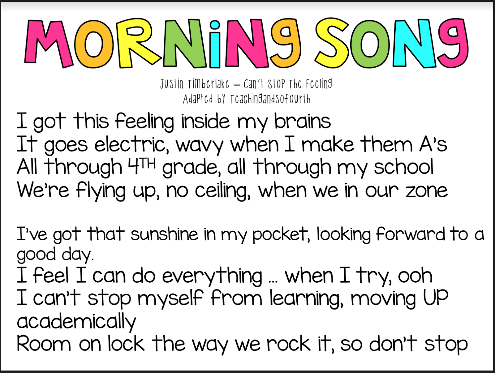 Teaching And So Fourth Morning Song