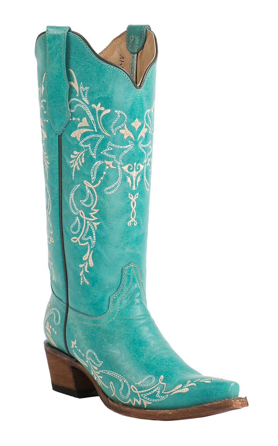 Corral Circle G Womens Turquoise with Cream Embroidery