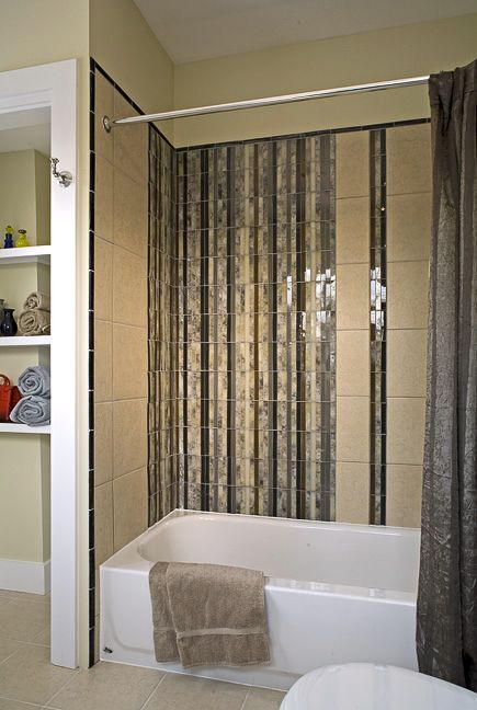 We Created A Waterfall Effect Above This Bath With Glass Tile Black Iridescent Glass Tile Acts