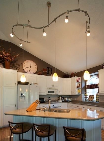 track lighting for kitchens industrial kitchen table vaulted ceiling | creative ...