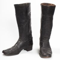 Rare 1870s Victorian Men's Leather Stove Pipe Western Boot