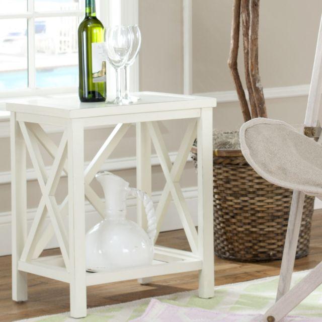 Safavieh Otley White Cross Back End Table by Safavieh