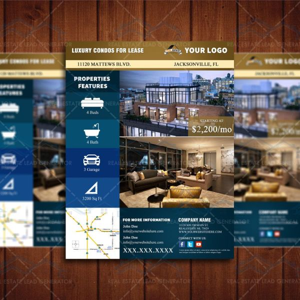 Lease Condo Real Estate Marketing Apartment Space Listing Flyer Template Realty