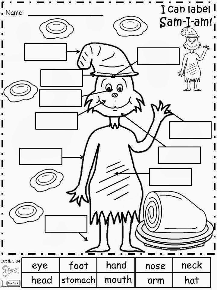 Free: Sam-I-am Labeling Sheet...Cut and Glue Activity. For