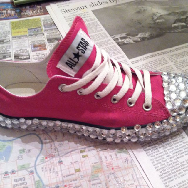 Bedazzled converse Pink Shoes  stylebeauty