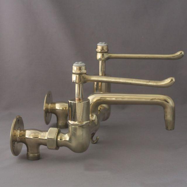 Brass Kitchen Lever Mixer Taps Circa 1930