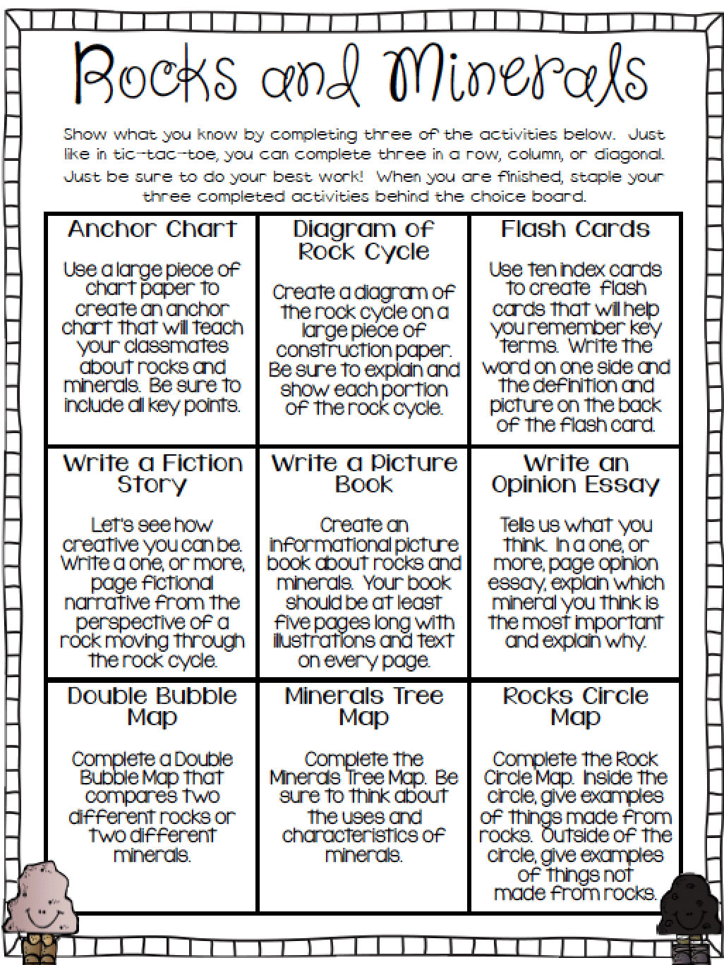 Free Rocks And Minerals Choice Board Required Printables