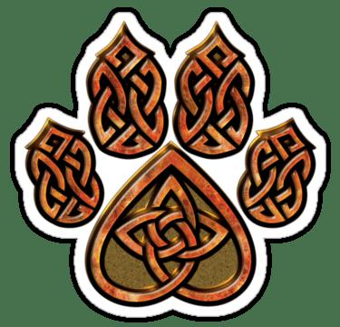 Celtic Knot Pawprint Red Sticker Wolves Celtic