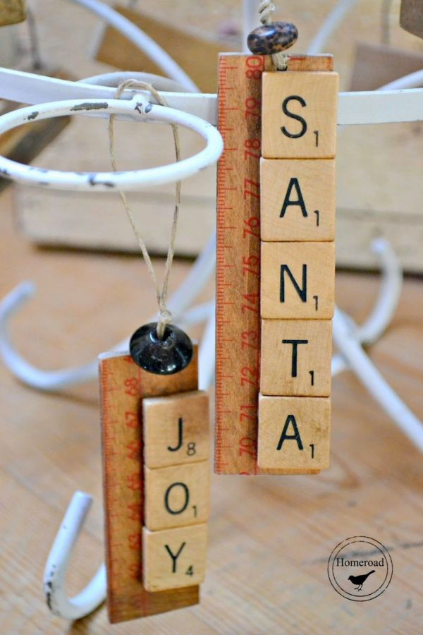Vintage Games Turned Scrabble Jenga Christmas Ornaments