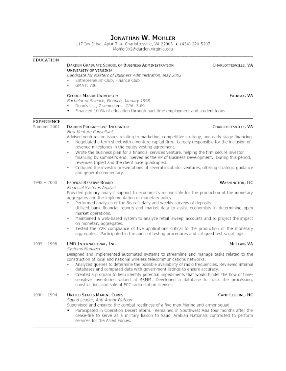 Resumes Sample Mba Resumes Templates With Best Way To