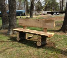 Country Log Slab Bench; Wood Projects