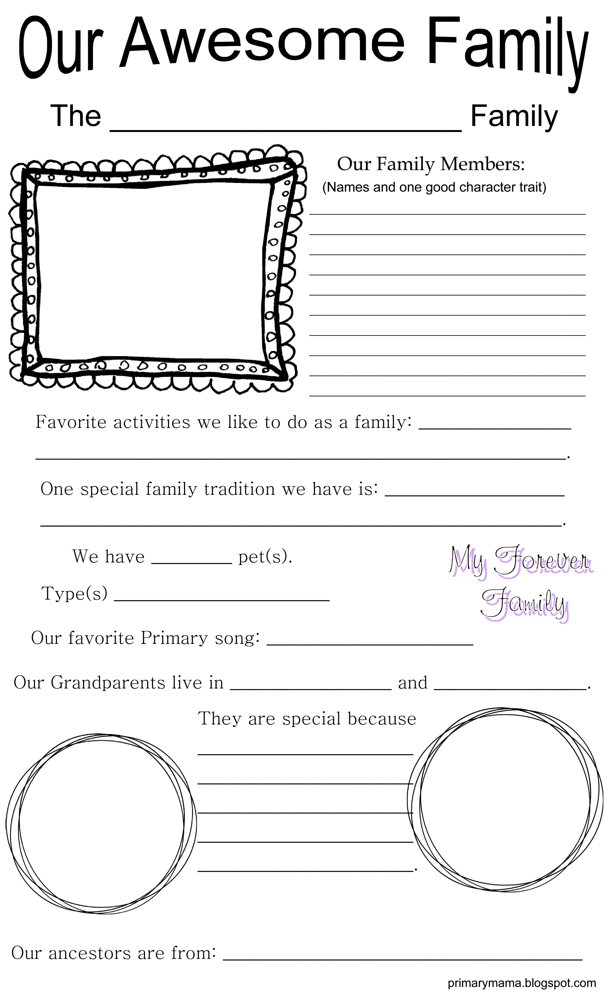 A family spotlight idea we will be doing in our ward for