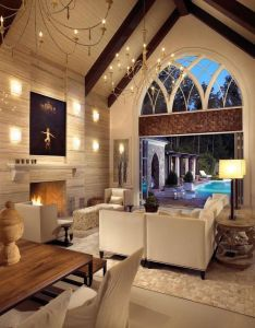 Indoor living area with  chandalier cathedral ceiling and beautiful opening to the outdoor    want this be sun room part of house also pool winecellar by beckwith interiors location nashville rh pinterest