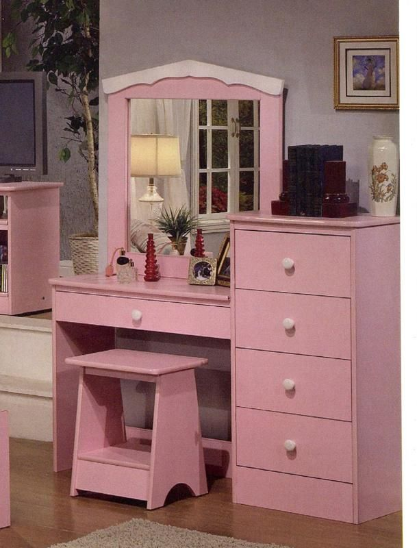 Princess Pink Finish Girls Kids Vanity Dresser with Mirror
