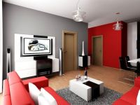 Comely Living Room Decorated with Grey and Red Wall Paint ...