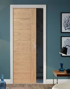 Door design also single pocket palermo flush oak with panel effect doors rh pinterest