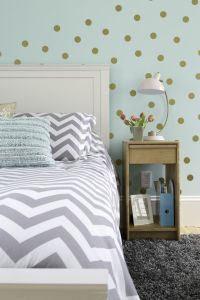 Girl's bedroom in aqua, gray, white and gold color palette ...