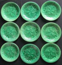 Majolica Pottery - Nine Classic Green dishes | garden ...