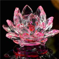 80mm Quartz Crystal Lotus Flower Crafts Glass Paperweight ...