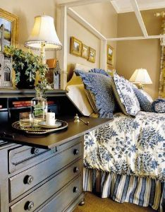 Night stand and blue white bedding southern living   live oak idea house uses subtle khaki in the guest room also simple serene  dream of decor blau rh za pinterest