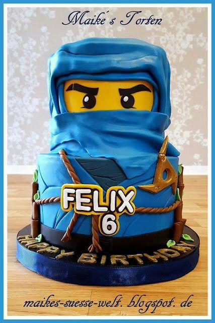 blaue Lego Ninjago Torte  blue cake boys  Ninjago  Pinterest  Geburtstage Motivtorten und
