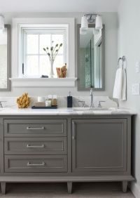 Bathroom Cabinets Painted in 'Boothbay Gray' from Benjamin