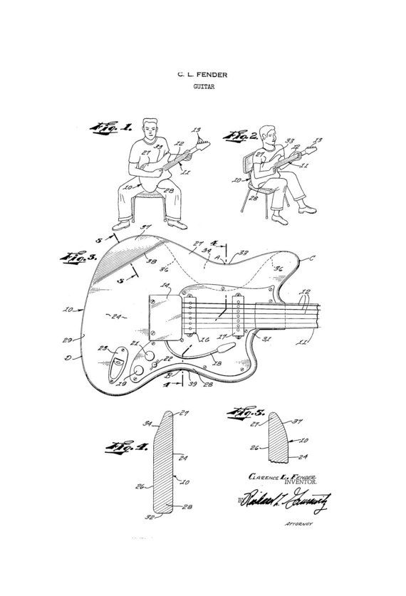 Fender Jaguar Guitar 1950's Patent Art Drawing by
