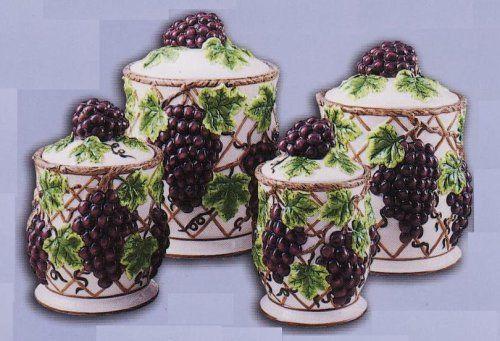 GRAPES Kitchen CANISTERS Set Ceramic Fruit Theme Home Decor KKM