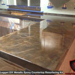 Epoxy Resin Kitchen Countertops Best Cleaner For Cabinets Diy Metallic Countertop Resurfacing Kits Are