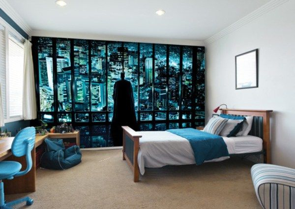 minimalist teenage boy bedroom ideas with batman mural
