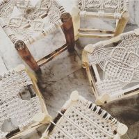 Woven Macrame wood stools boho | Home | Pinterest | Wood ...
