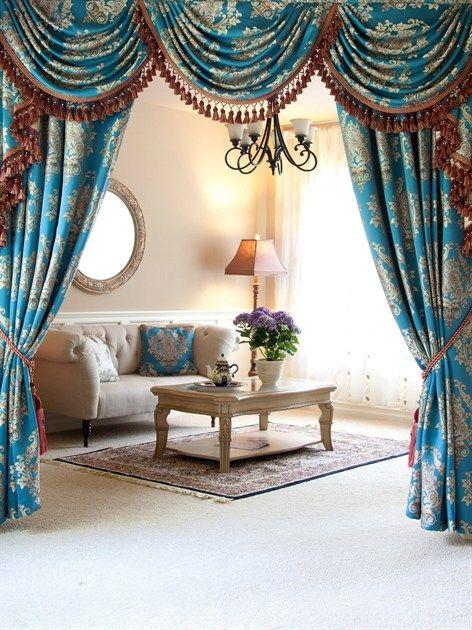 elegant kitchen curtains valances rugs amazon blue lantern brocade swag valance curtain set the dream ...