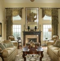 old world window treatment arched window