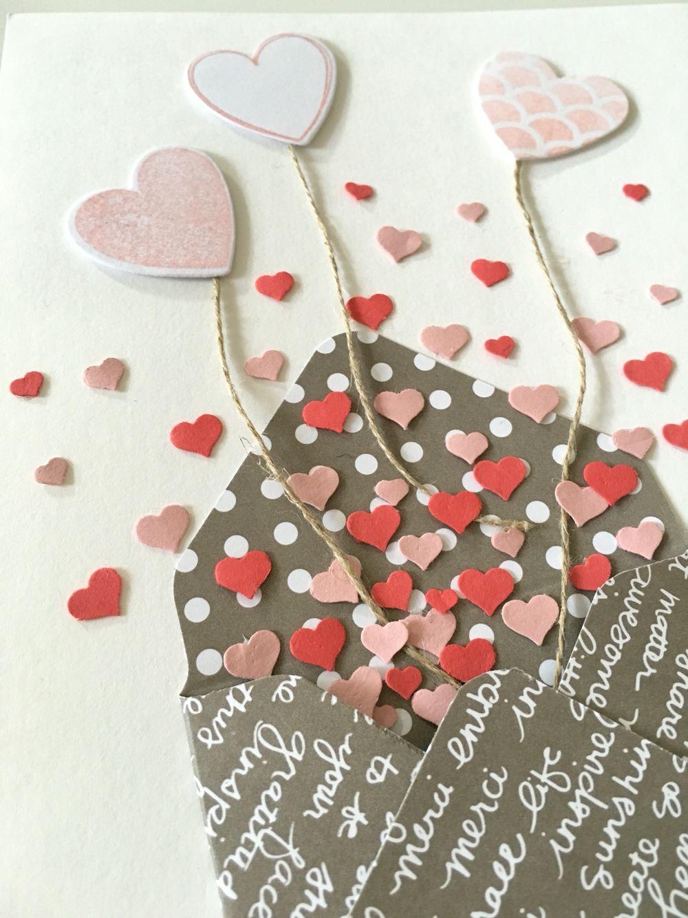 Stampin Up Konfetti Herzchen aus einem Briefumschlag und