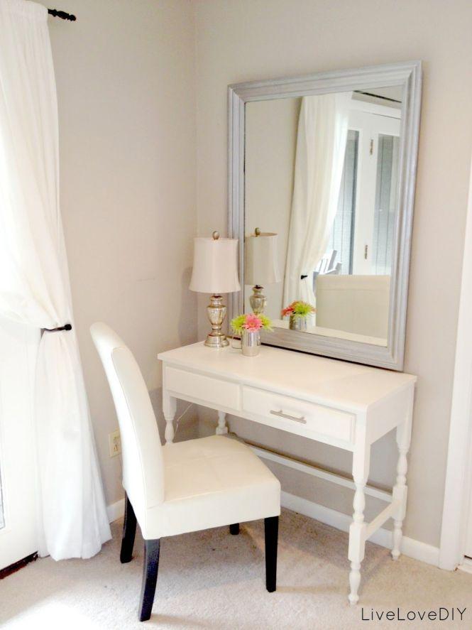 Thrift Desk Turned Bedroom Vanity Table Seen Here Livelovediy My
