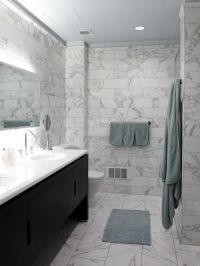 6x12 calacatta gold marble wall tiles with 12x24 floor ...