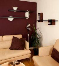 Maroon wall modern living room   living room decor ...