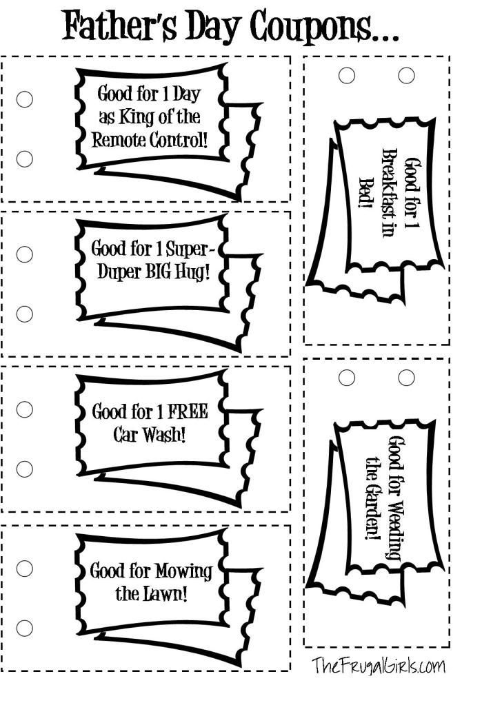 FREE Fathers Day Coupons {printable} from The Frugal Girls