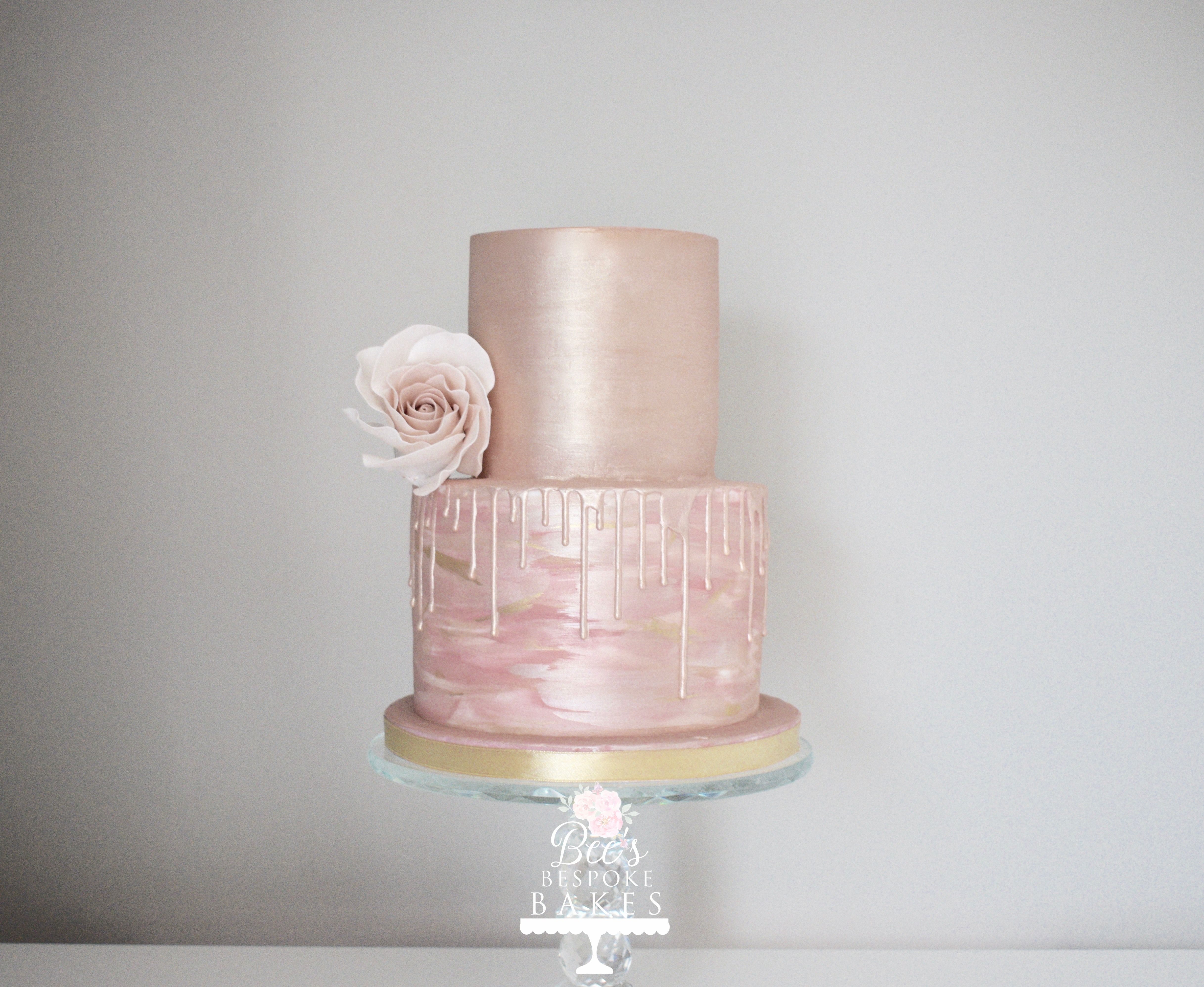 Two Tier Rose Gold Drip Cake With Watercolour Detail And