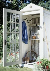 Upcycled DOORS!! Lovin this OUTHOUSE ! cute! | Garden ...