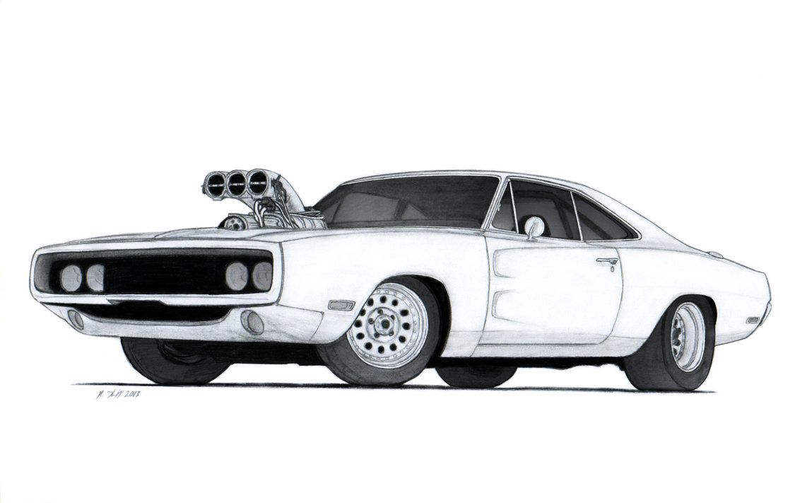 Drawings View Car Side Mustang