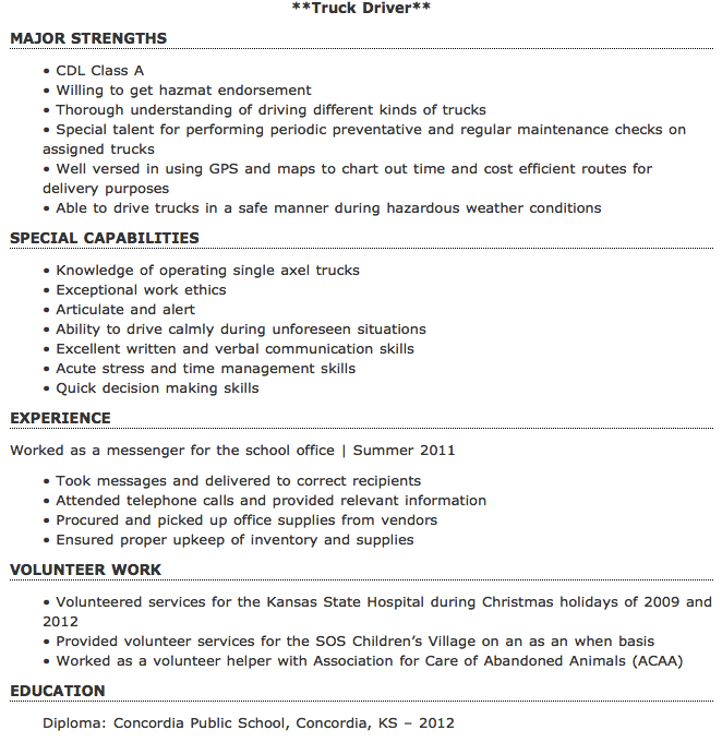 Truck Driver Resume Example   Examples Of Resumes